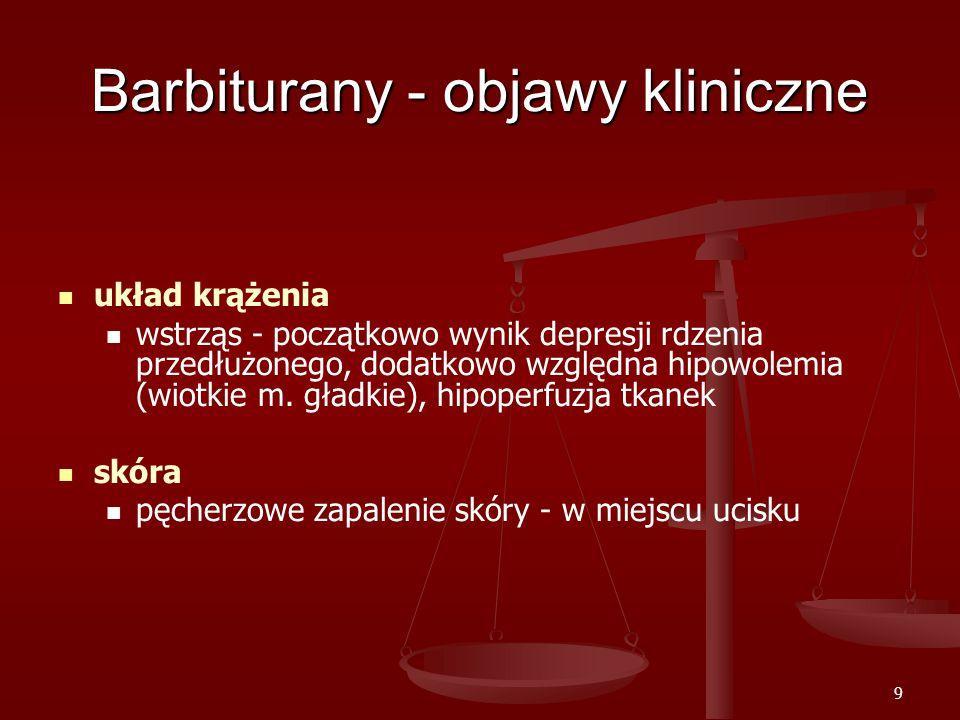 9 Barbiturany - objawy kliniczne układ krążenia wstrząs - początkowo wynik depresji rdzenia przedłużonego, dodatkowo względna hipowolemia (wiotkie m.