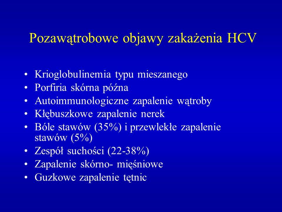 Pozawątrobowe objawy zakażenia HCV Krioglobulinemia typu mieszanego Porfiria skórna późna Autoimmunologiczne zapalenie wątroby Kłębuszkowe zapalenie n