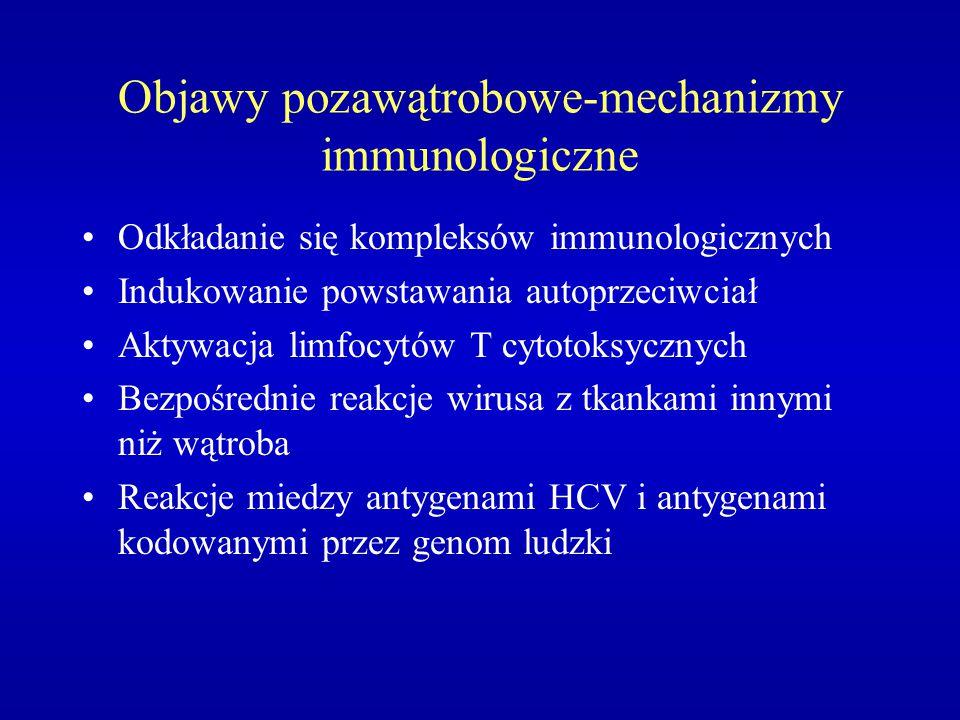 Objawy pozawątrobowe-mechanizmy immunologiczne Odkładanie się kompleksów immunologicznych Indukowanie powstawania autoprzeciwciał Aktywacja limfocytów