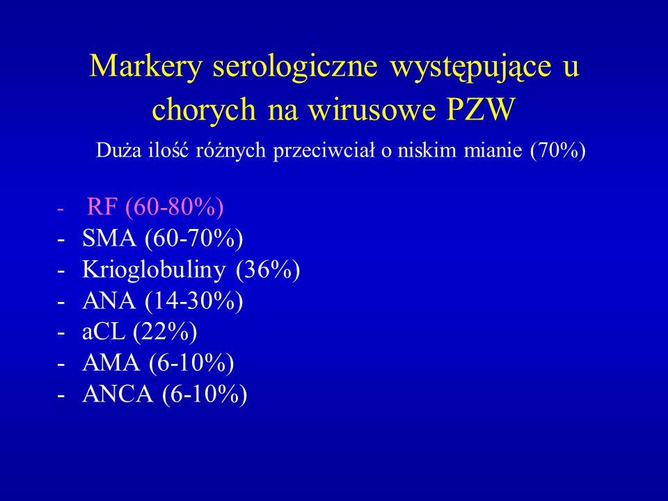 Markery serologiczne występujące u chorych na wirusowe PZW Duża ilość różnych przeciwciał o niskim mianie (70%) - RF (60-80%) -SMA (60-70%) -Krioglobu