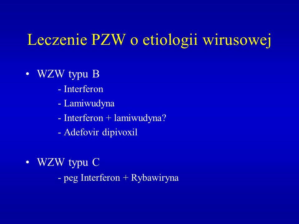 Leczenie PZW o etiologii wirusowej WZW typu B - Interferon - Lamiwudyna - Interferon + lamiwudyna? - Adefovir dipivoxil WZW typu C - peg Interferon +