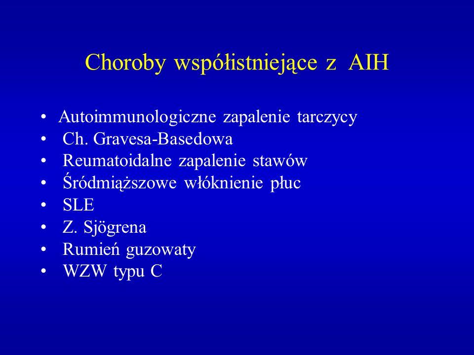 Choroby współistniejące z AIH Autoimmunologiczne zapalenie tarczycy Ch. Gravesa-Basedowa Reumatoidalne zapalenie stawów Śródmiąższowe włóknienie płuc
