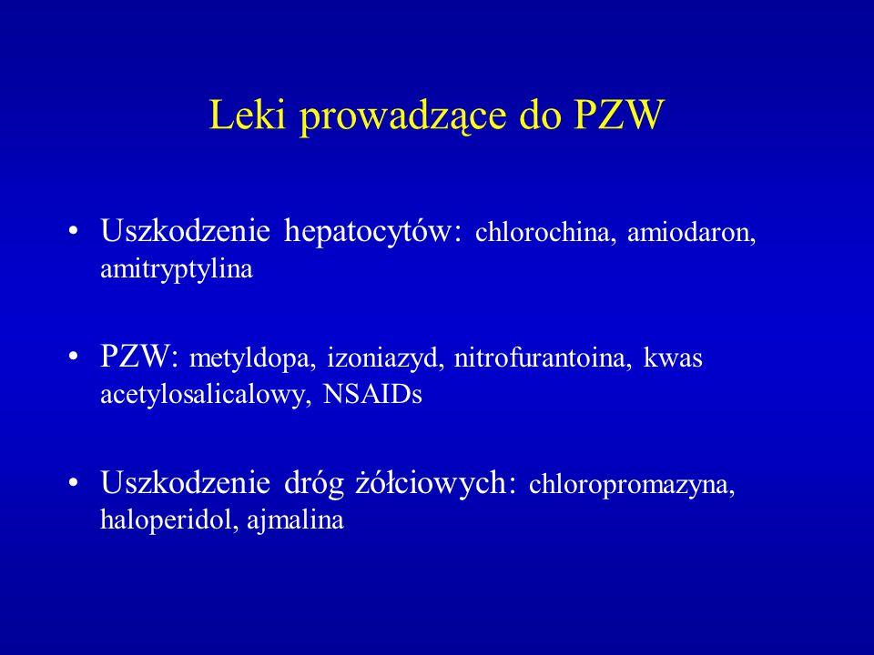 Leki prowadzące do PZW Uszkodzenie hepatocytów: chlorochina, amiodaron, amitryptylina PZW: metyldopa, izoniazyd, nitrofurantoina, kwas acetylosalicalo