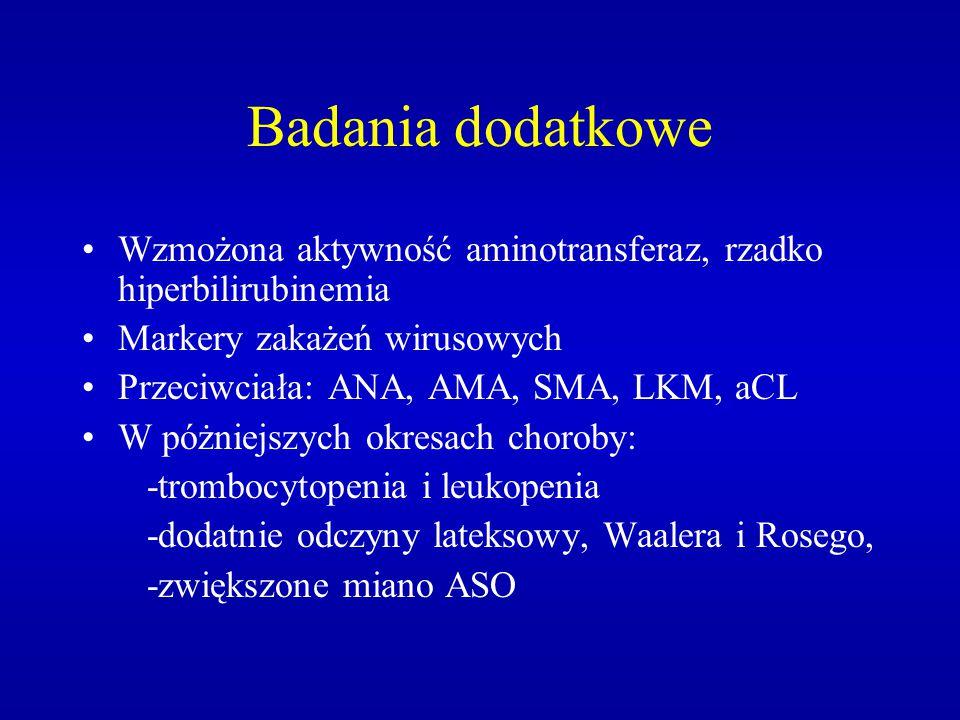 Badania dodatkowe Wzmożona aktywność aminotransferaz, rzadko hiperbilirubinemia Markery zakażeń wirusowych Przeciwciała: ANA, AMA, SMA, LKM, aCL W póż