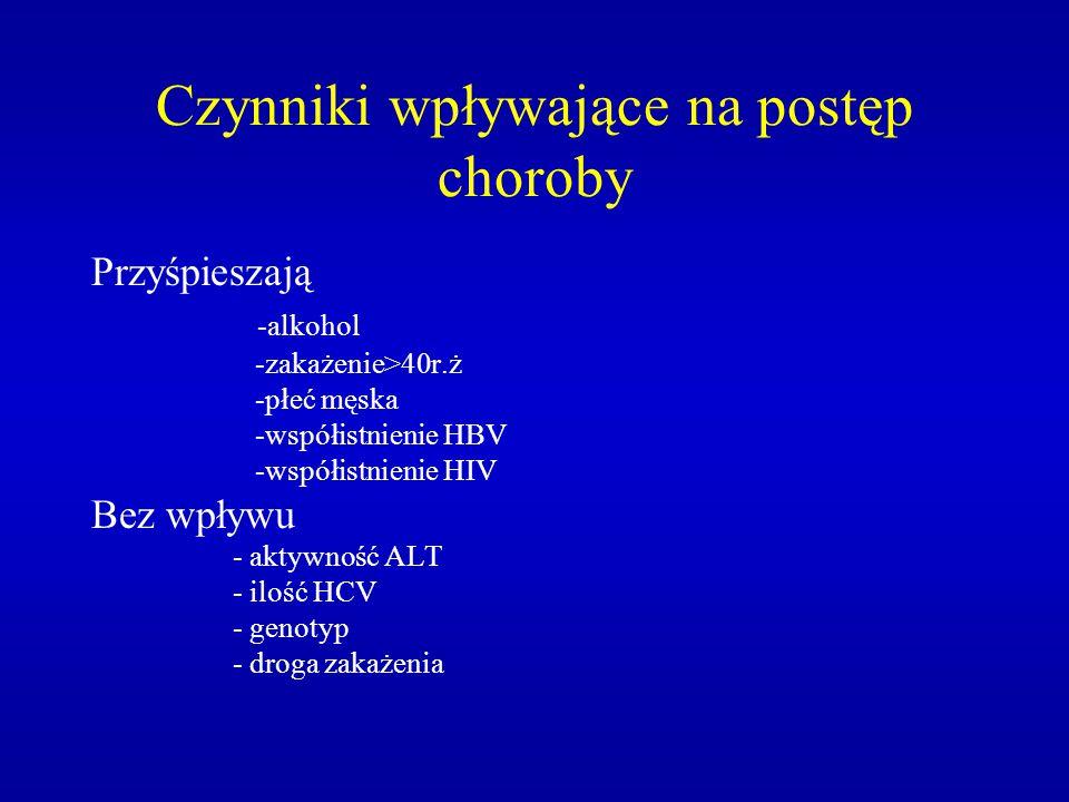 Testy diagnostyczne WZW WZW typu B - HBsAg, HBeAg, - anty-HBe, anty-HBs, anty-HBc (IgM, IgG), - HBV-DNA WZW typu C - anty HCV (ELISA, RIBA), - HCV-RNA (PCR)