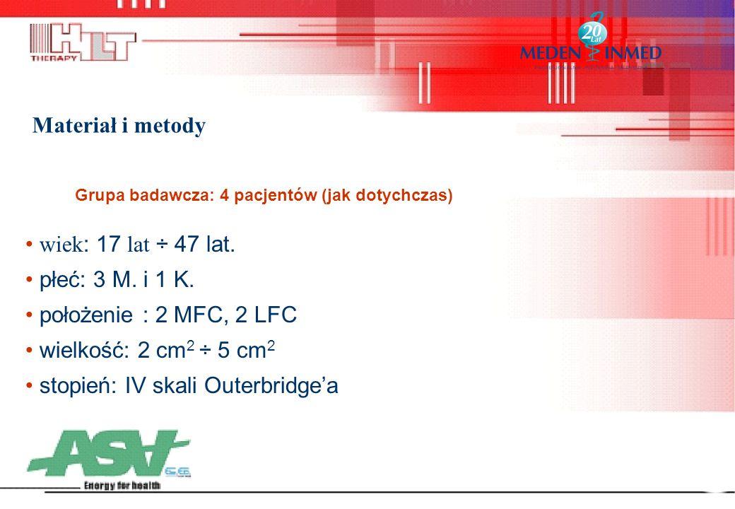 Materiał i metody wiek : 17 lat ÷ 47 lat. płeć: 3 M. i 1 K. położenie : 2 MFC, 2 LFC wielkość: 2 cm 2 ÷ 5 cm 2 stopień: IV skali Outerbridge'a Grupa b