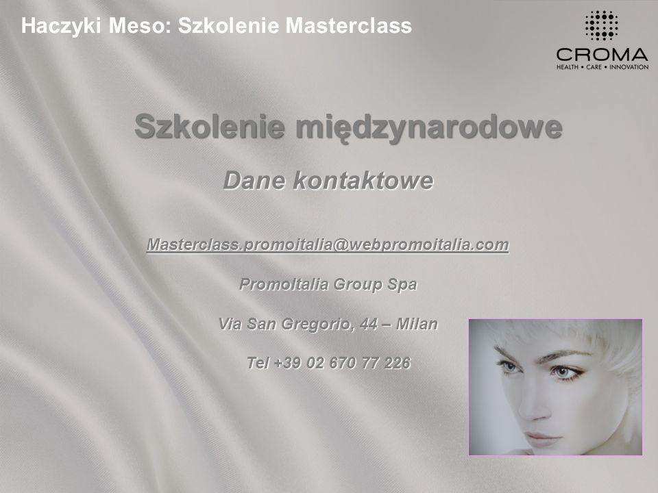 Haczyki Meso: Szkolenie Masterclass Szkolenie międzynarodowe Dane kontaktowe Masterclass.promoitalia@webpromoitalia.com PromoItalia Group Spa Via San Gregorio, 44 – Milan Tel +39 02 670 77 226