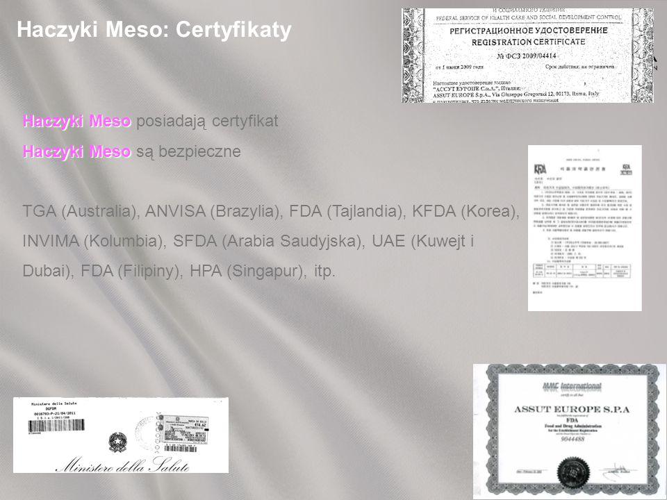 Haczyki Meso: Certyfikaty Haczyki Meso Haczyki Meso posiadają certyfikat Haczyki Meso Haczyki Meso są bezpieczne TGA (Australia), ANVISA (Brazylia), FDA (Tajlandia), KFDA (Korea), INVIMA (Kolumbia), SFDA (Arabia Saudyjska), UAE (Kuwejt i Dubai), FDA (Filipiny), HPA (Singapur), itp.