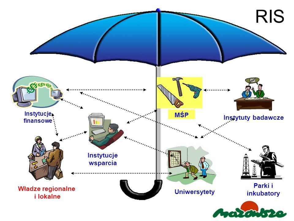RIS Instytucje wsparcia Parki i inkubatory MŚP Instytuty badawcze Instytucje finansowe Uniwersytety Władze regionalne i lokalne
