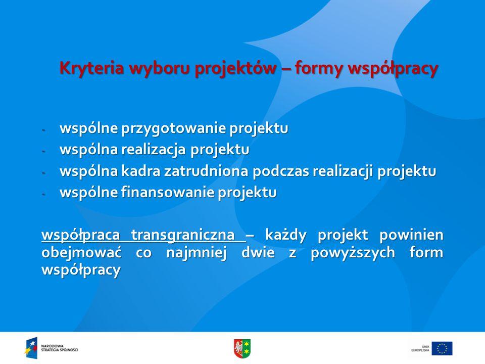 Kryteria wyboru projektów – formy współpracy - wspólne przygotowanie projektu - wspólna realizacja projektu - wspólna kadra zatrudniona podczas realizacji projektu - wspólne finansowanie projektu współpraca transgraniczna – każdy projekt powinien obejmować co najmniej dwie z powyższych form współpracy