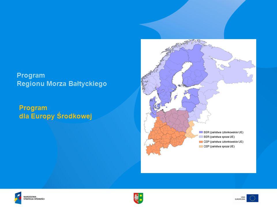 Program dla Europy Środkowej Program Regionu Morza Bałtyckiego
