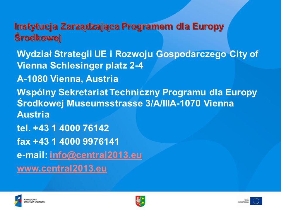Wydział Strategii UE i Rozwoju Gospodarczego City of Vienna Schlesinger platz 2-4 A-1080 Vienna, Austria Wspólny Sekretariat Techniczny Programu dla Europy Środkowej Museumsstrasse 3/A/IIIA-1070 Vienna Austria tel.