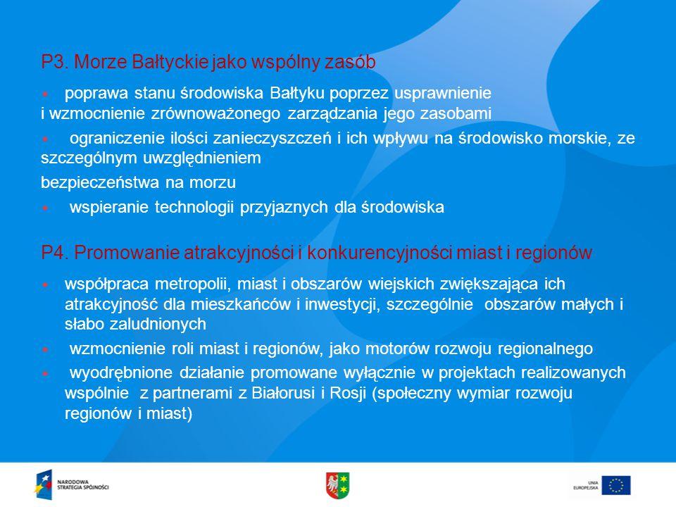 P3. Morze Bałtyckie jako wspólny zasób  poprawa stanu środowiska Bałtyku poprzez usprawnienie i wzmocnienie zrównoważonego zarządzania jego zasobami
