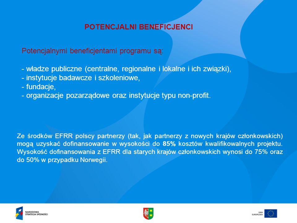 Potencjalnymi beneficjentami programu są: - władze publiczne (centralne, regionalne i lokalne i ich związki), - instytucje badawcze i szkoleniowe, - fundacje, - organizacje pozarządowe oraz instytucje typu non-profit.