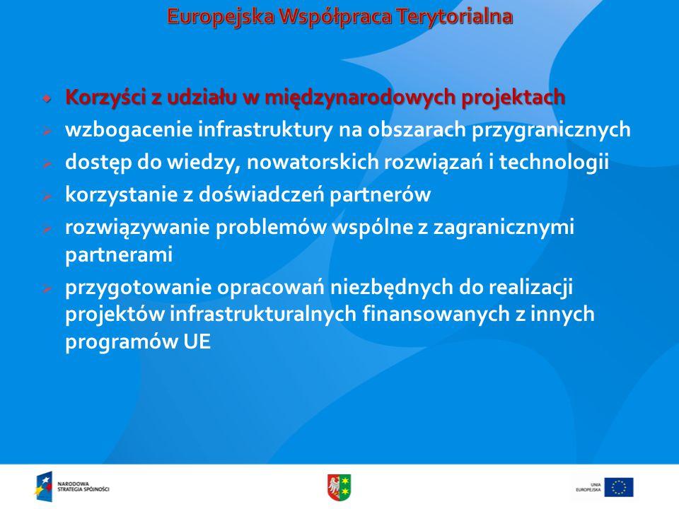  Korzyści z udziału w międzynarodowych projektach  wzbogacenie infrastruktury na obszarach przygranicznych  dostęp do wiedzy, nowatorskich rozwiązań i technologii  korzystanie z doświadczeń partnerów  rozwiązywanie problemów wspólne z zagranicznymi partnerami  przygotowanie opracowań niezbędnych do realizacji projektów infrastrukturalnych finansowanych z innych programów UE