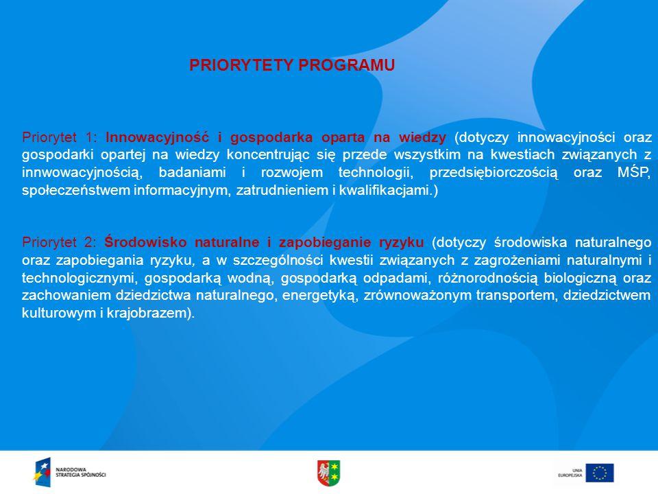 PRIORYTETY PROGRAMU Priorytet 1: Innowacyjność i gospodarka oparta na wiedzy (dotyczy innowacyjności oraz gospodarki opartej na wiedzy koncentrując się przede wszystkim na kwestiach związanych z innwowacyjnością, badaniami i rozwojem technologii, przedsiębiorczością oraz MŚP, społeczeństwem informacyjnym, zatrudnieniem i kwalifikacjami.) Priorytet 2: Środowisko naturalne i zapobieganie ryzyku (dotyczy środowiska naturalnego oraz zapobiegania ryzyku, a w szczególności kwestii związanych z zagrożeniami naturalnymi i technologicznymi, gospodarką wodną, gospodarką odpadami, różnorodnością biologiczną oraz zachowaniem dziedzictwa naturalnego, energetyką, zrównoważonym transportem, dziedzictwem kulturowym i krajobrazem).