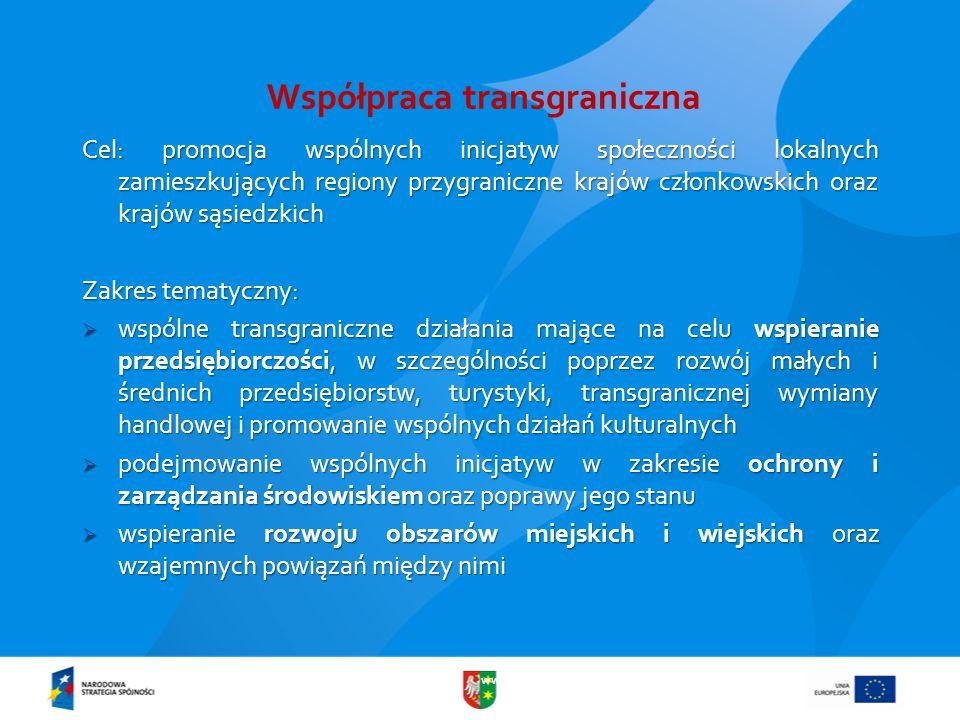 www.lubuskie.pl Współpraca transgraniczna – zakres tematyczny  poprawa dostępu do sieci transportowych, informacyjnych i komunikacyjnych, usprawnienie systemów dostarczania wody i energii oraz gospodarowania odpadami  promowanie rozwoju i wspólnego wykorzystania infrastruktury w takich dziedzinach jak ochrona zdrowia, kultura i edukacja  wspieranie współpracy administracyjnej oraz integracji społeczności lokalnych poprzez wspólne działania dotyczące rynku pracy, promocji równouprawnienia (w tym równouprawnienia kobiet i mężczyzn), rozwoju zasobów ludzkich, wspierania sektora B&R, itp.