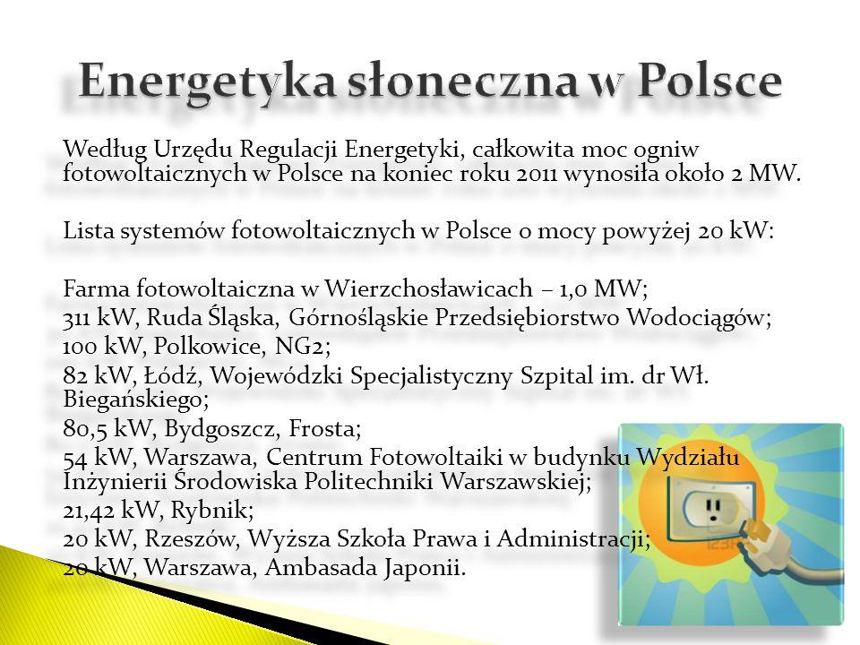 Według Urzędu Regulacji Energetyki, całkowita moc ogniw fotowoltaicznych w Polsce na koniec roku 2011 wynosiła około 2 MW. Lista systemów fotowoltaicz