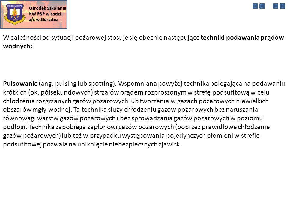 W zależności od sytuacji pożarowej stosuje się obecnie następujące techniki podawania prądów wodnych: Ośrodek Szkolenia KW PSP w Łodzi z/s w Sieradzu Pulsowanie (ang.