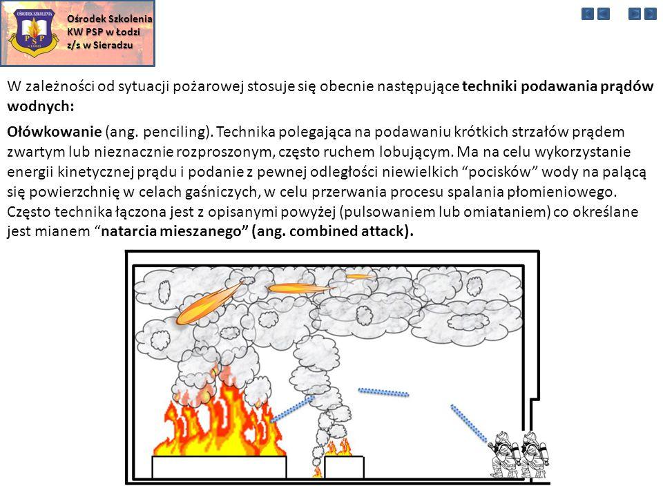 W zależności od sytuacji pożarowej stosuje się obecnie następujące techniki podawania prądów wodnych: Ośrodek Szkolenia KW PSP w Łodzi z/s w Sieradzu Ołówkowanie (ang.
