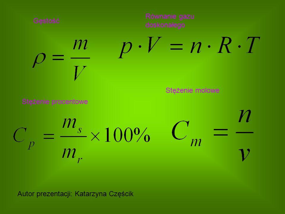 Gęstość Równanie gazu doskonałego Stężenie procentowe Stężenie molowe Autor prezentacji: Katarzyna Częścik