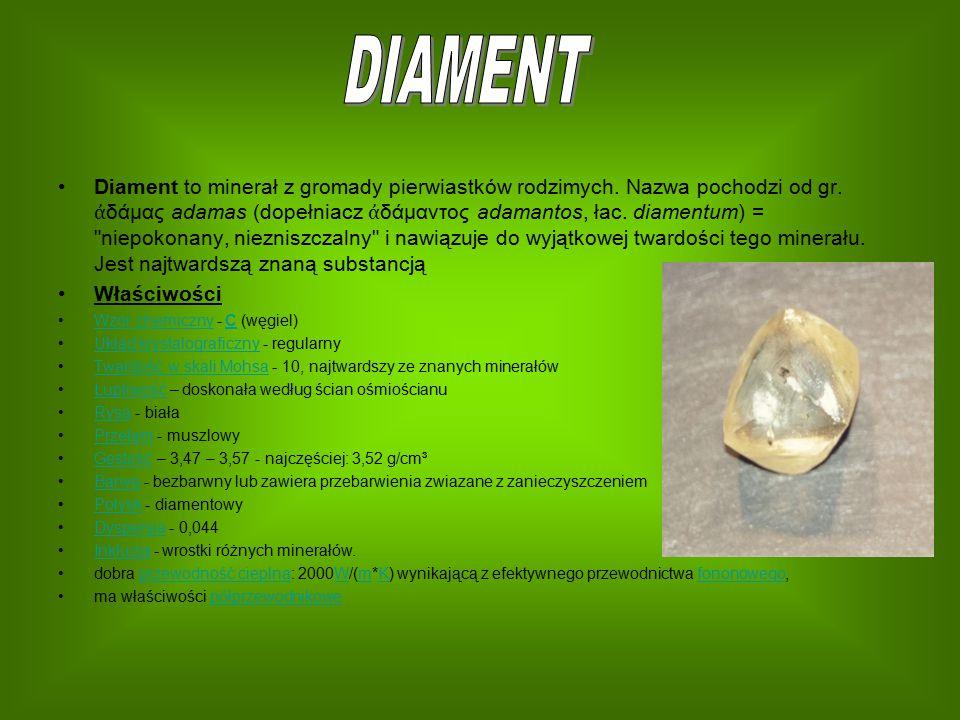 Diament to minerał z gromady pierwiastków rodzimych. Nazwa pochodzi od gr. ἀ δάμας adamas (dopełniacz ἀ δάμαντος adamantos, łac. diamentum) =