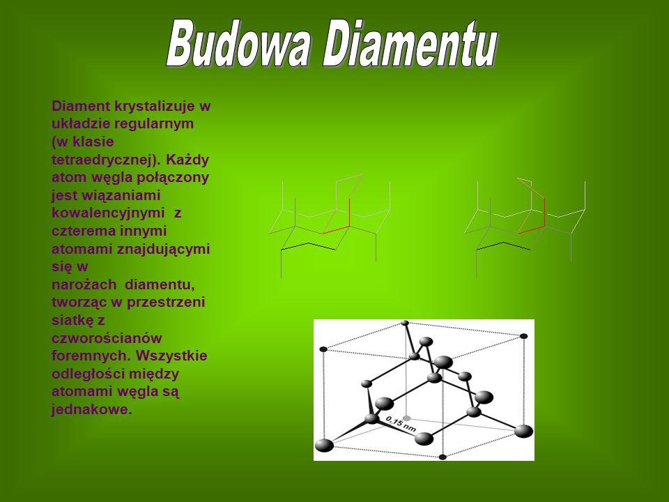 Diament krystalizuje w układzie regularnym (w klasie tetraedrycznej). Każdy atom węgla połączony jest wiązaniami kowalencyjnymi z czterema innymi atom