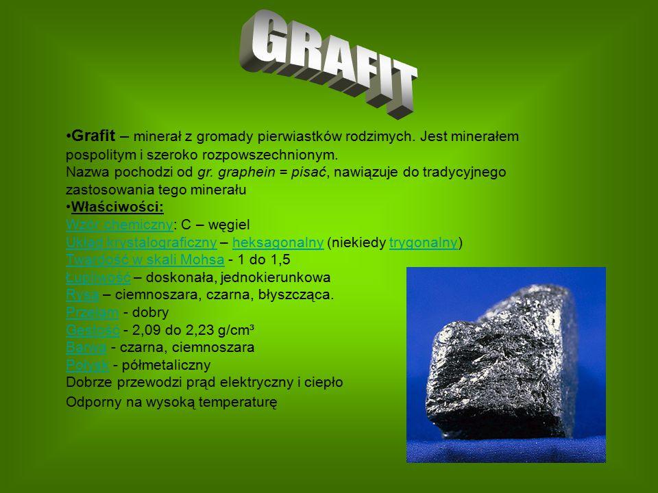 Grafit – minerał z gromady pierwiastków rodzimych. Jest minerałem pospolitym i szeroko rozpowszechnionym. Nazwa pochodzi od gr. graphein = pisać, nawi
