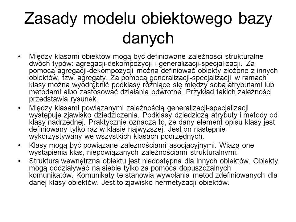 Zasady modelu obiektowego bazy danych Między klasami obiektów mogą być definiowane zależności strukturalne dwóch typów: agregacji-dekompozycji i gener