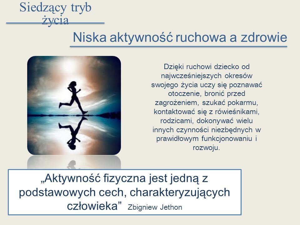 """Siedzący tryb życia Niska aktywność ruchowa a zdrowie """"Aktywność fizyczna jest jedną z podstawowych cech, charakteryzujących człowieka"""" Zbigniew Jetho"""
