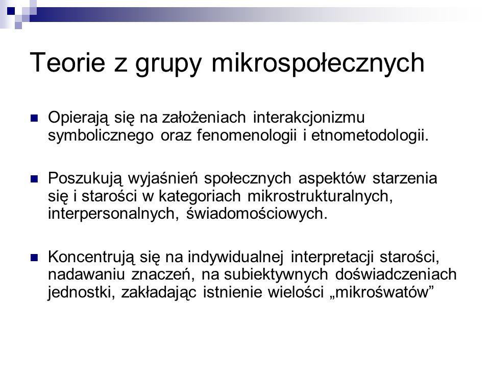 Teorie z grupy mikrospołecznych Opierają się na założeniach interakcjonizmu symbolicznego oraz fenomenologii i etnometodologii.