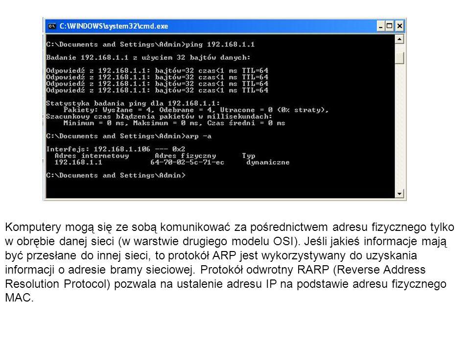 Komputery mogą się ze sobą komunikować za pośrednictwem adresu fizycznego tylko w obrębie danej sieci (w warstwie drugiego modelu OSI). Jeśli jakieś i