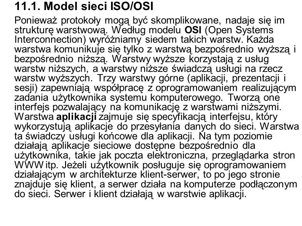 11.1. Model sieci ISO/OSI Ponieważ protokoły mogą być skomplikowane, nadaje się im strukturę warstwową. Według modelu OSI (Open Systems Interconnectio