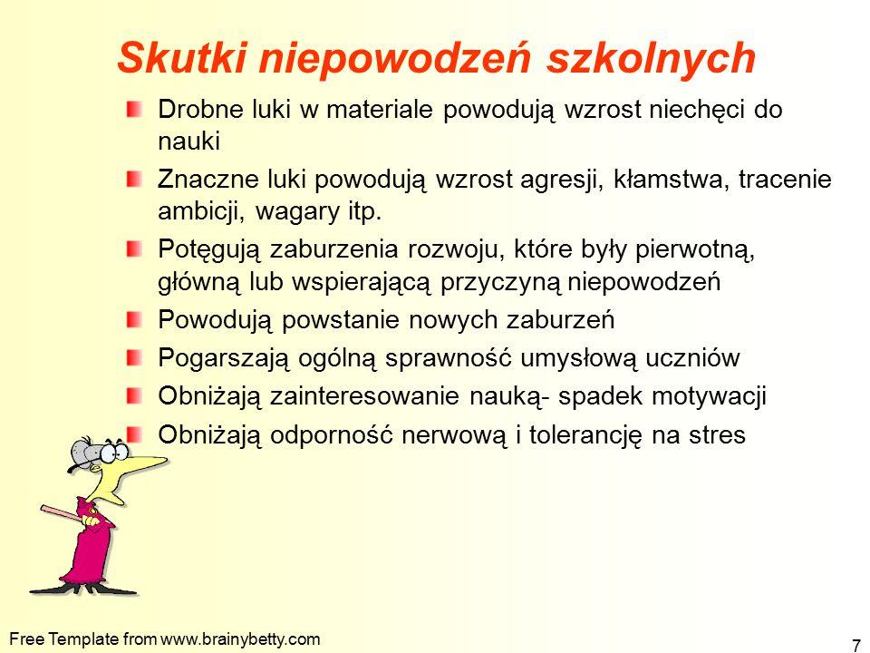 Free Template from www.brainybetty.com 7 Skutki niepowodzeń szkolnych Drobne luki w materiale powodują wzrost niechęci do nauki Znaczne luki powodują