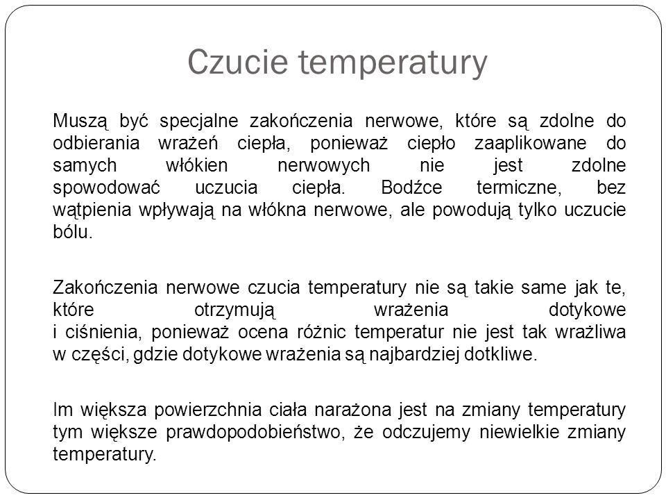Czucie temperatury Muszą być specjalne zakończenia nerwowe, które są zdolne do odbierania wrażeń ciepła, ponieważ ciepło zaaplikowane do samych włókie