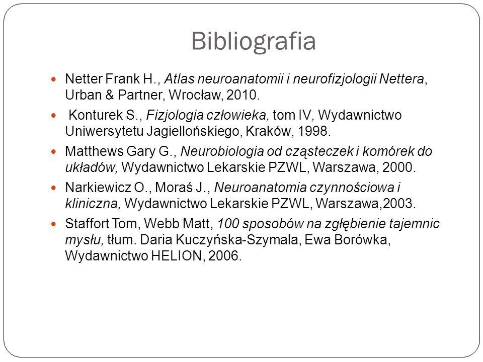 Bibliografia Netter Frank H., Atlas neuroanatomii i neurofizjologii Nettera, Urban & Partner, Wrocław, 2010. Konturek S., Fizjologia człowieka, tom IV