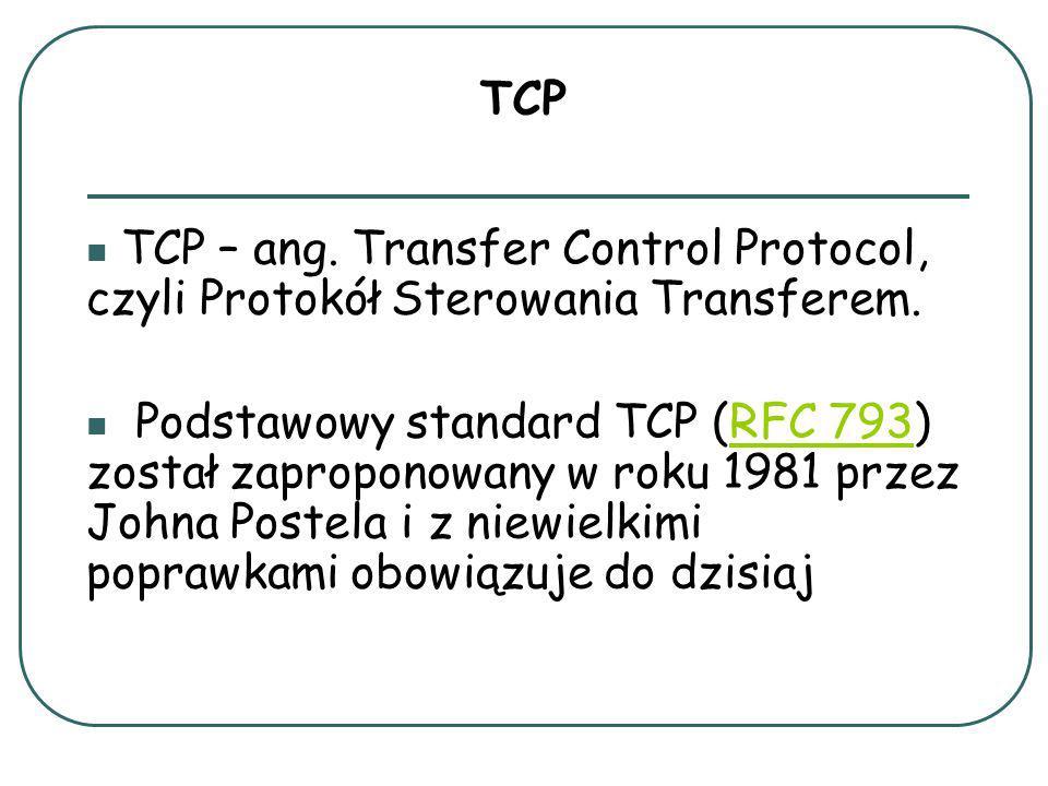 TCP – ang.Transfer Control Protocol, czyli Protokół Sterowania Transferem.