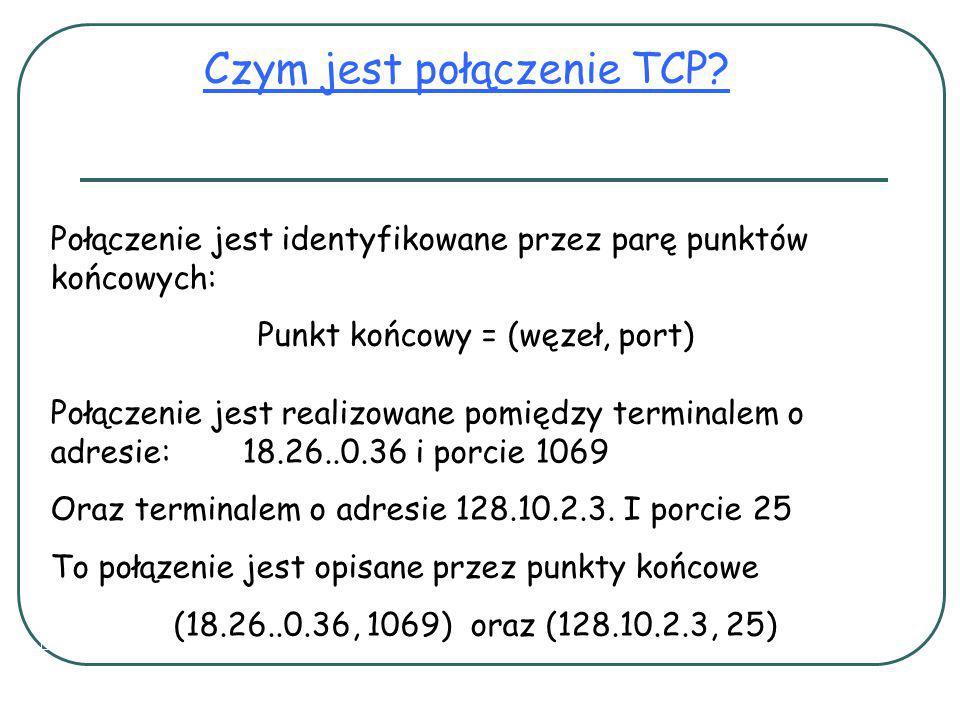 Połączenie jest identyfikowane przez parę punktów końcowych: Punkt końcowy = (węzeł, port) Czym jest połączenie TCP.
