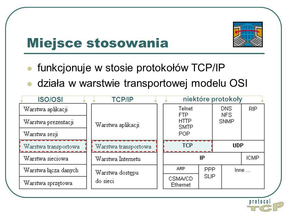 Miejsce stosowania funkcjonuje w stosie protokołów TCP/IP działa w warstwie transportowej modelu OSI ISO/OSITCP/IP niektóre protokoły