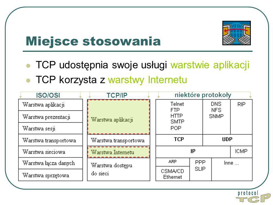 Miejsce stosowania TCP udostępnia swoje usługi warstwie aplikacji TCP korzysta z warstwy Internetu ISO/OSITCP/IP niektóre protokoły