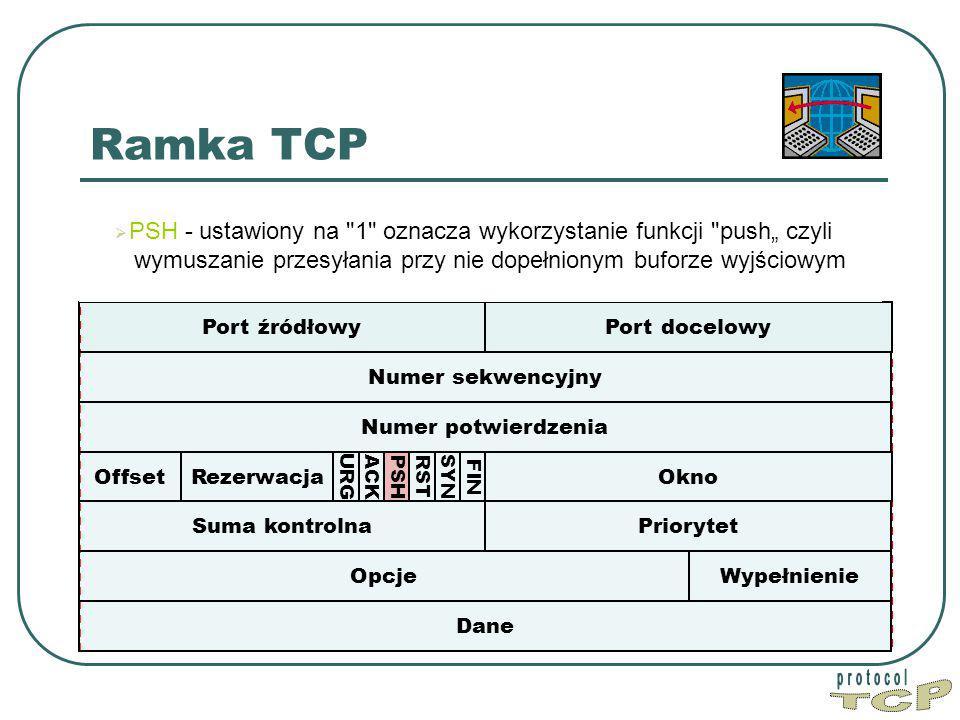 """Ramka TCP Port źródłowy Port docelowy Numer sekwencyjny Dane Okno PriorytetSuma kontrolna Numer potwierdzenia WypełnienieOpcje Offset FIN SYN RST PSH ACK URG  PSH - ustawiony na 1 oznacza wykorzystanie funkcji push"""" czyli wymuszanie przesyłania przy nie dopełnionym buforze wyjściowym Rezerwacja"""