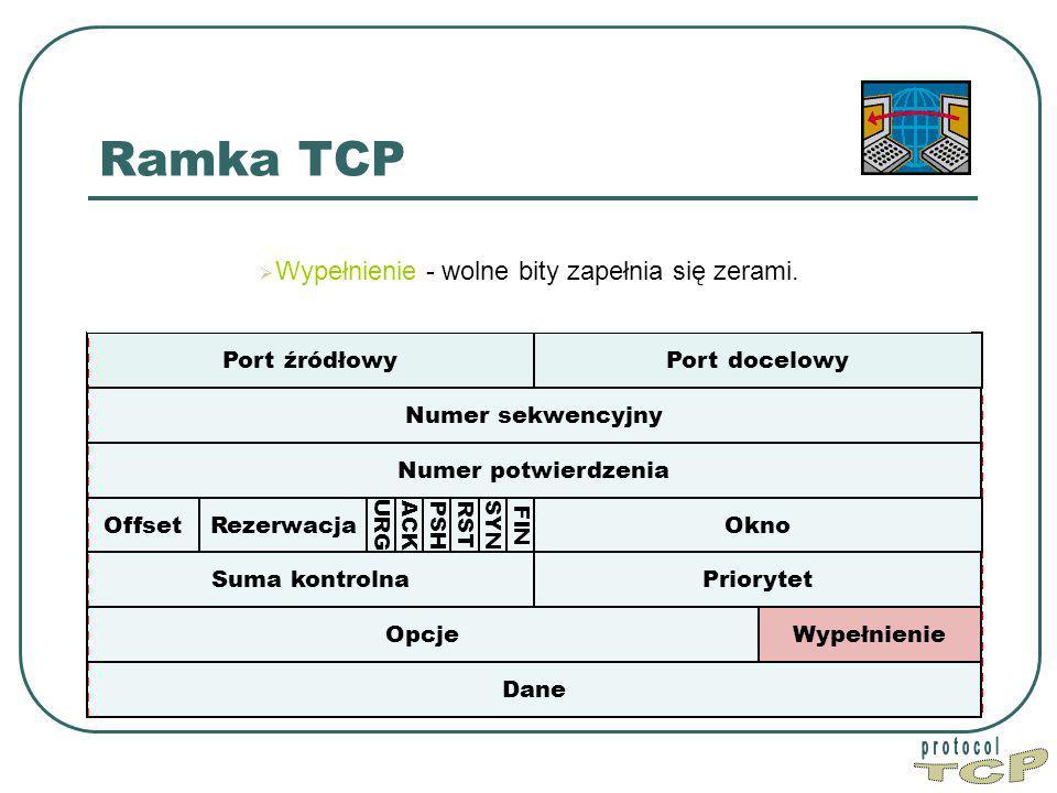 Ramka TCP Port źródłowy Port docelowy Numer sekwencyjny Dane Okno PriorytetSuma kontrolna Numer potwierdzenia WypełnienieOpcje Offset FIN SYN RST PSH ACK URG  W Wypełnienie - wolne bity zapełnia się zerami.