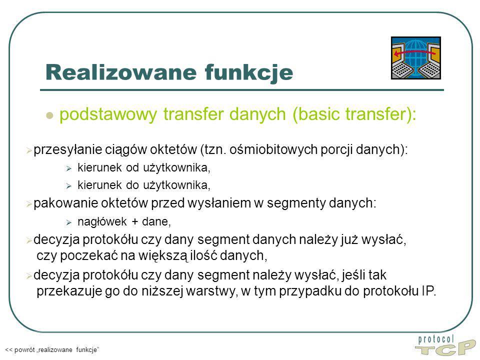 """Realizowane funkcje podstawowy transfer danych (basic transfer): << powrót """"realizowane funkcje  przesyłanie ciągów oktetów (tzn."""