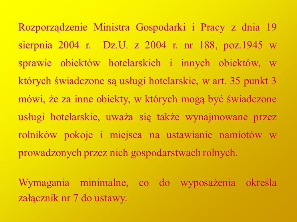 Rozporządzenie Ministra Gospodarki i Pracy z dnia 19 sierpnia 2004 r. Dz.U. z 2004 r. nr 188, poz.1945 w sprawie obiektów hotelarskich i innych obiekt