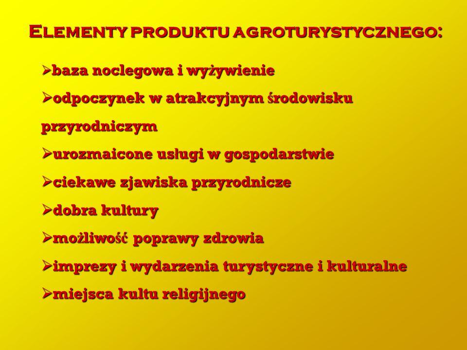 Elementy produktu agroturystycznego:  baza noclegowa i wy ż ywienie  odpoczynek w atrakcyjnym ś rodowisku przyrodniczym  urozmaicone us ł ugi w gos