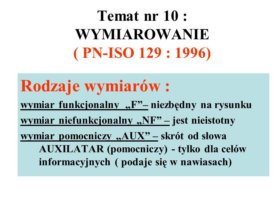 """Temat nr 10 : WYMIAROWANIE ( PN-ISO 129 : 1996) Rodzaje wymiarów : wymiar funkcjonalny """"F""""– niezbędny na rysunku wymiar niefunkcjonalny """"NF"""" – jest ni"""