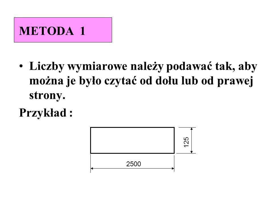 METODA 1 Liczby wymiarowe należy podawać tak, aby można je było czytać od dołu lub od prawej strony. Przykład : 2500 125