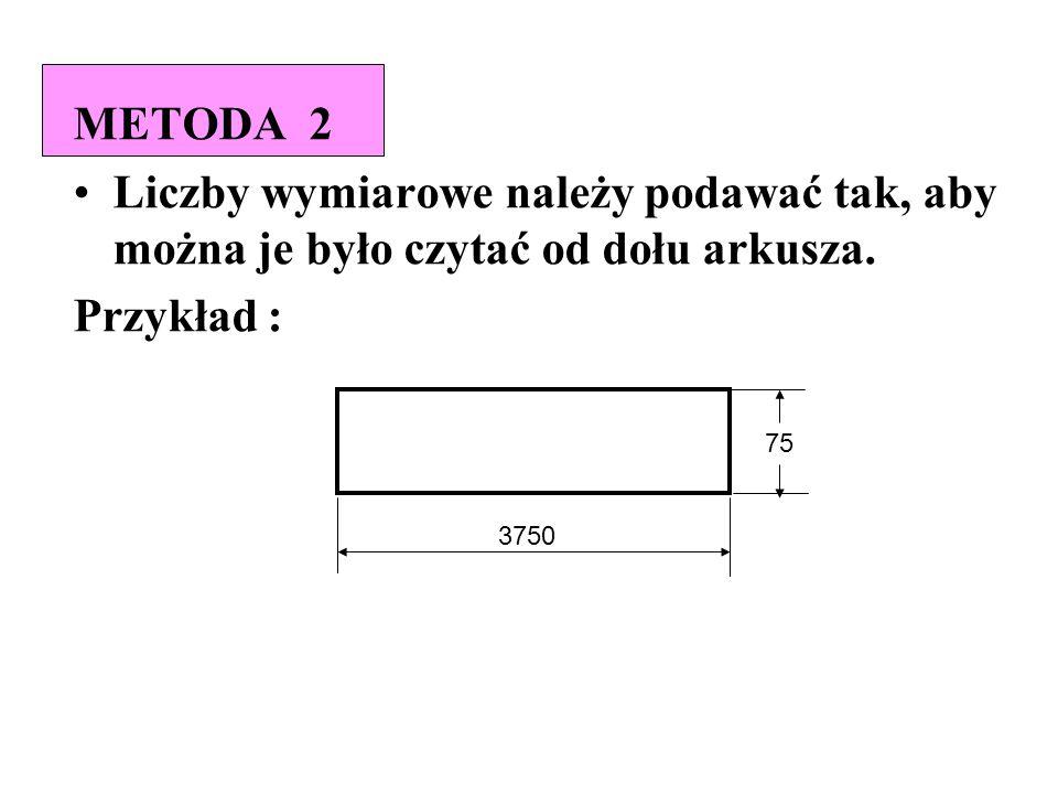 METODA 2 Liczby wymiarowe należy podawać tak, aby można je było czytać od dołu arkusza. Przykład : 3750 75