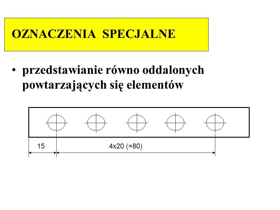 OZNACZENIA SPECJALNE przedstawianie równo oddalonych powtarzających się elementów 15 4x20 (=80)