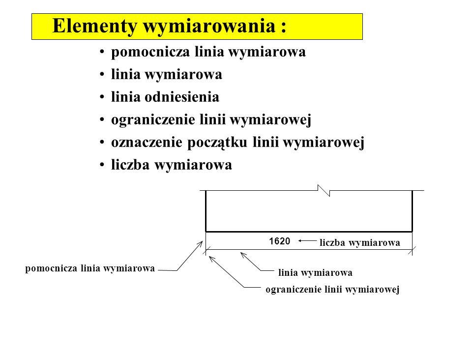 Elementy wymiarowania : pomocnicza linia wymiarowa linia wymiarowa linia odniesienia ograniczenie linii wymiarowej oznaczenie początku linii wymiarowe